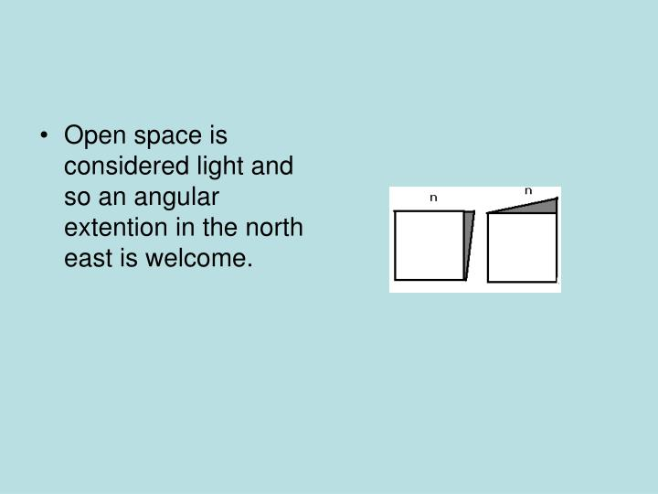 Open space is considered light and so an angular extention in the north east is welcome.