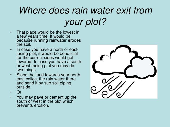 Where does rain water exit from your plot?