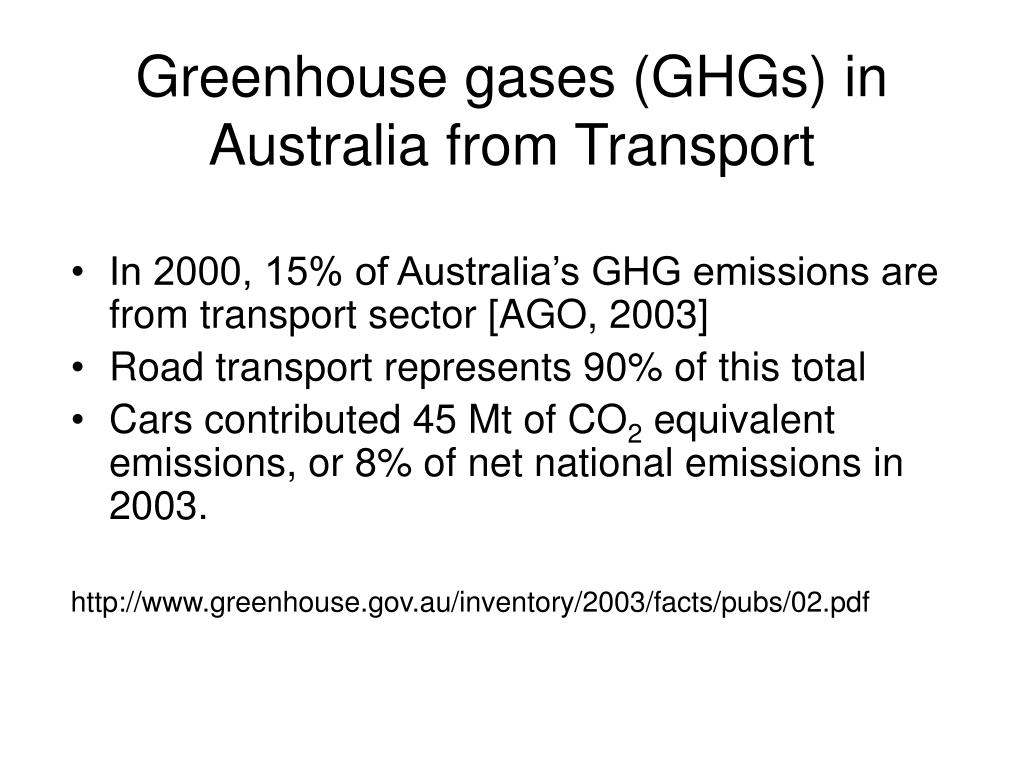 Greenhouse gases (GHGs) in Australia from Transport
