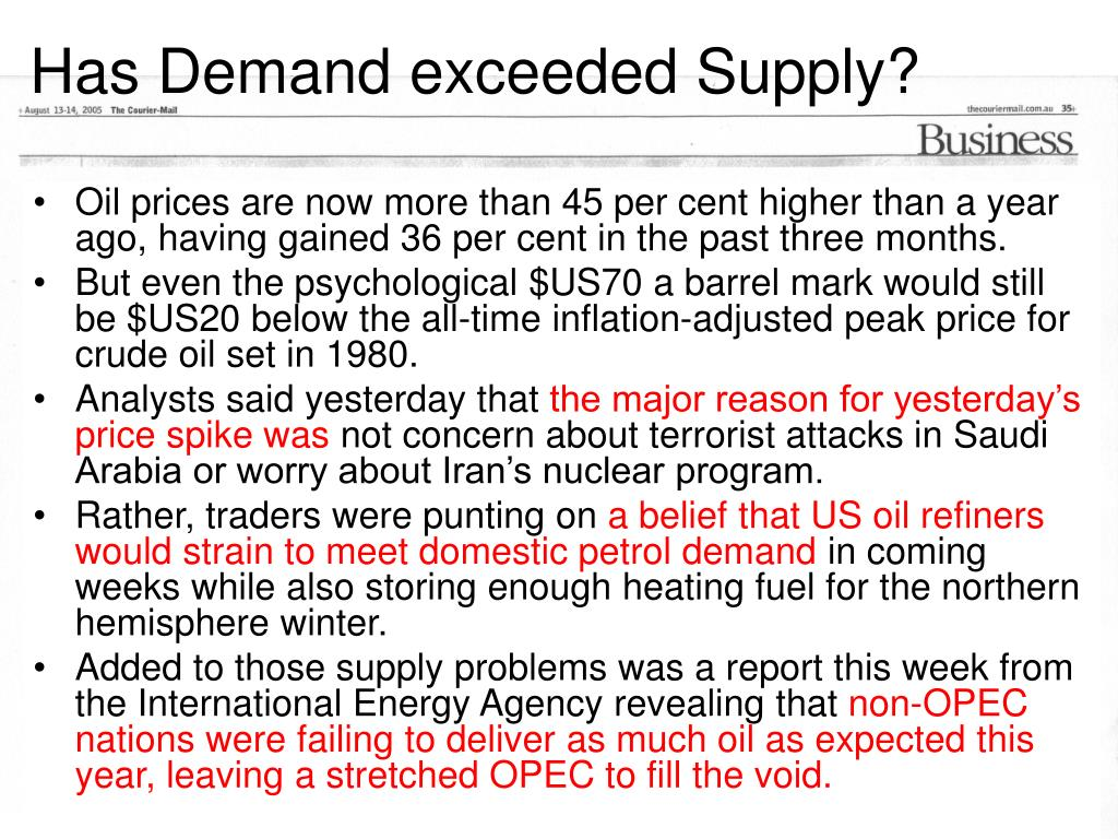 Has Demand exceeded Supply?