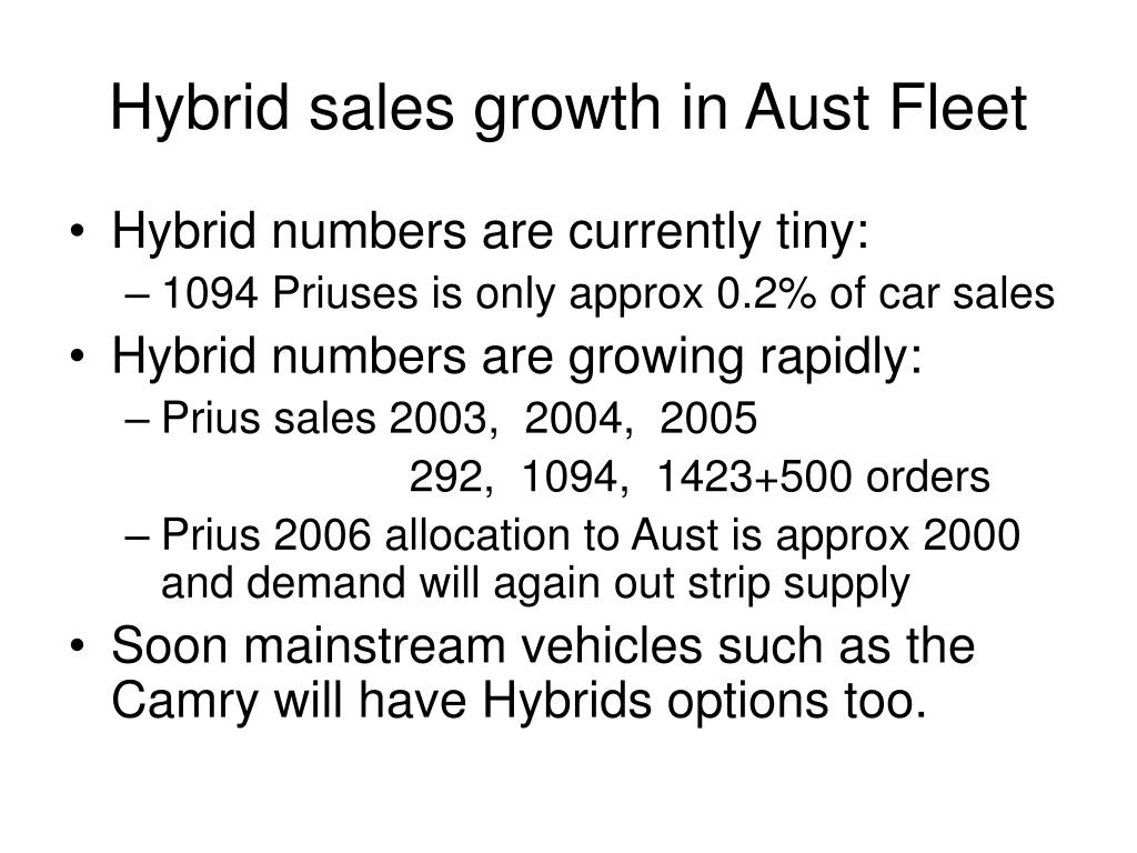 Hybrid sales growth in Aust Fleet