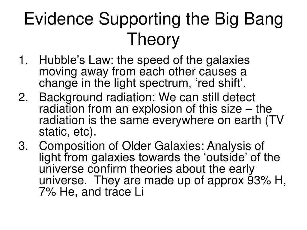 Evidence Supporting the Big Bang Theory