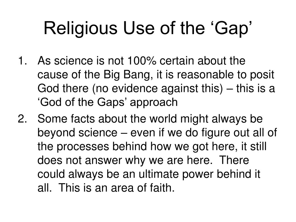 Religious Use of the 'Gap'