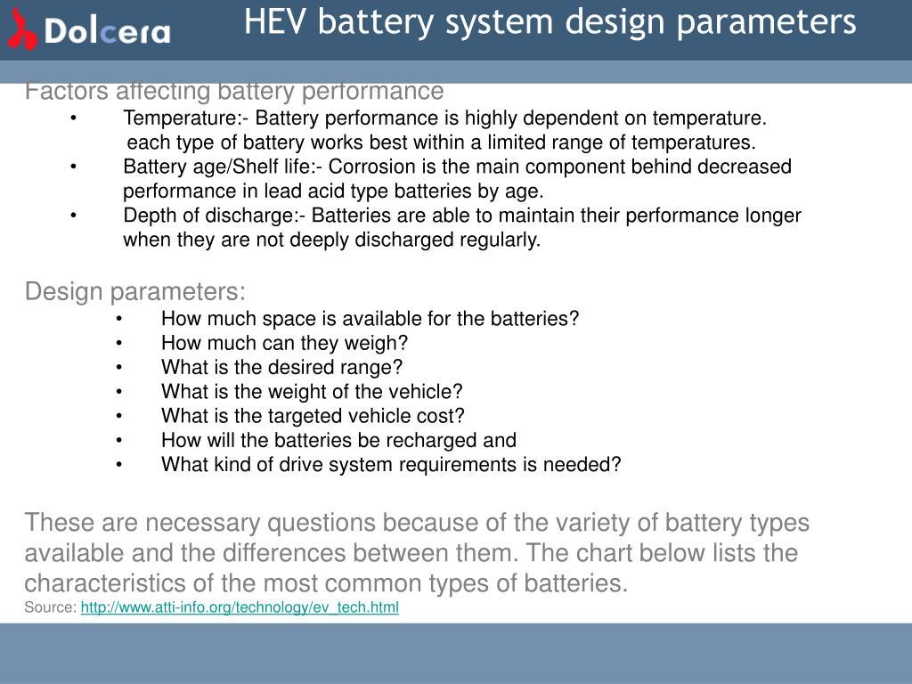 HEV battery system design parameters