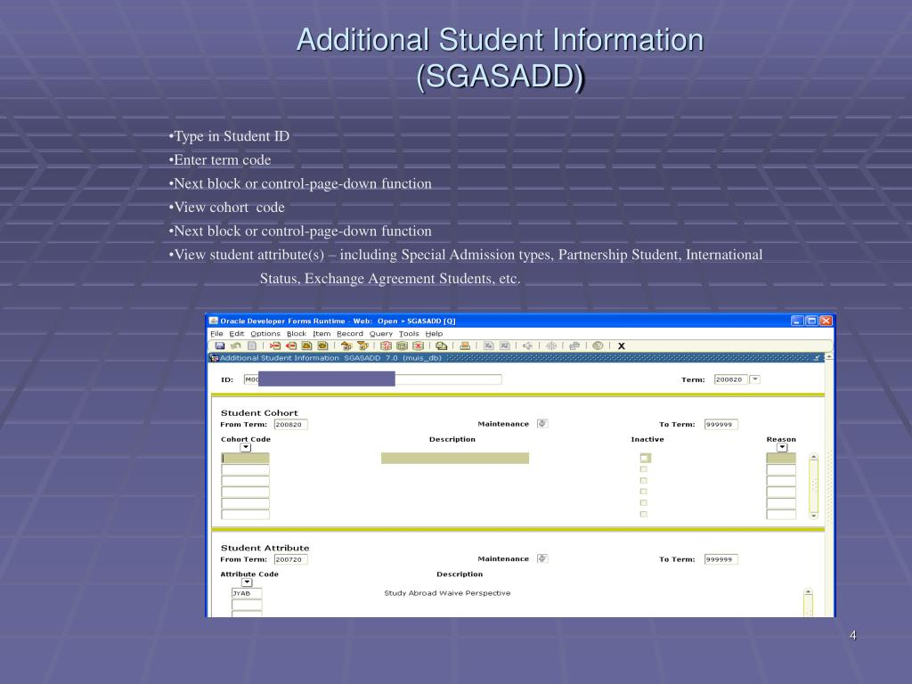 Additional Student Information (SGASADD)