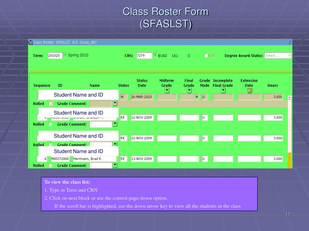 Class Roster Form (SFASLST)