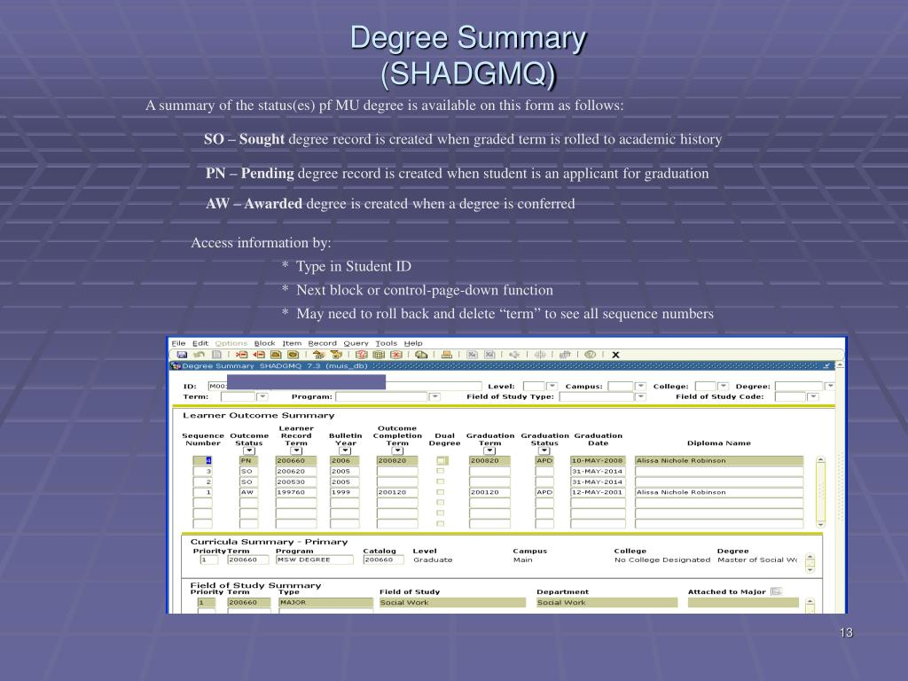 Degree Summary (SHADGMQ)