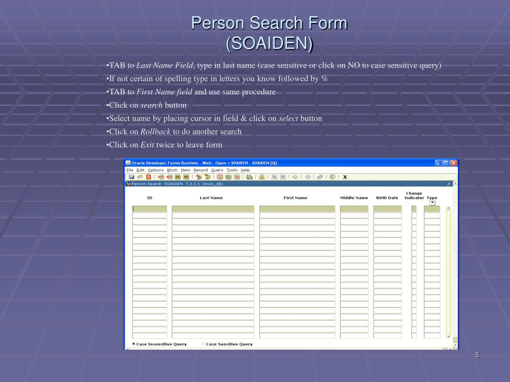 Person Search Form (SOAIDEN)