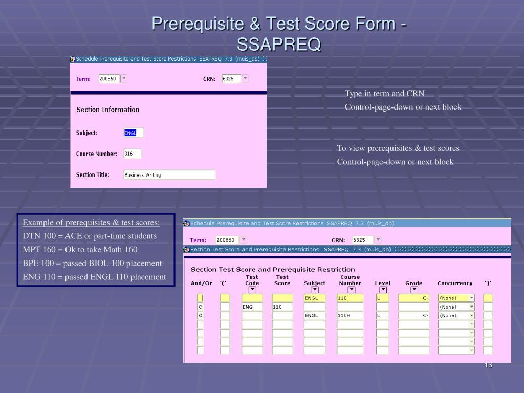 Prerequisite & Test Score Form -SSAPREQ