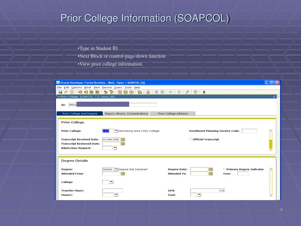 Prior College Information (SOAPCOL)