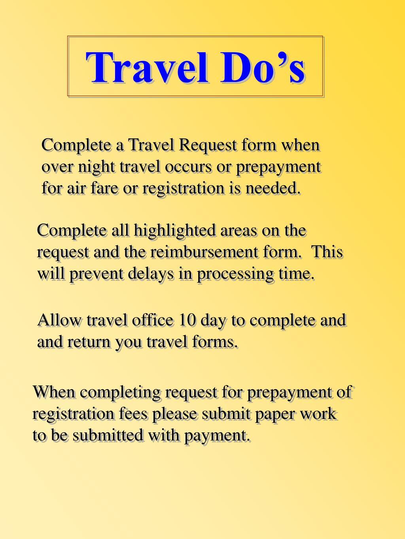 Travel Do's