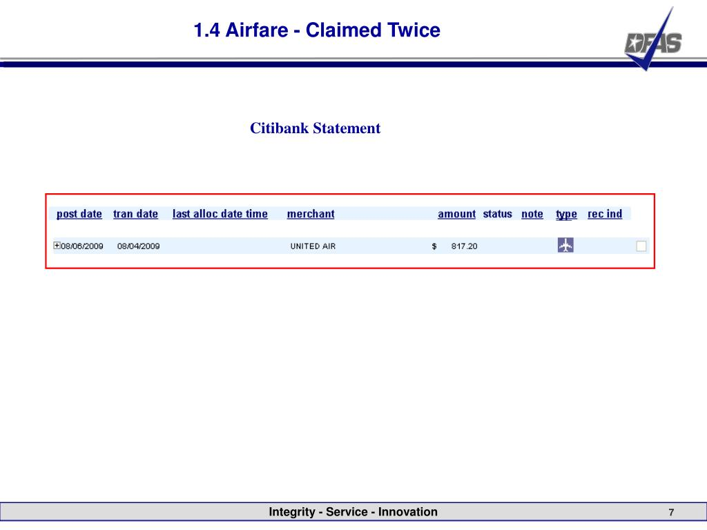 1.4 Airfare - Claimed Twice