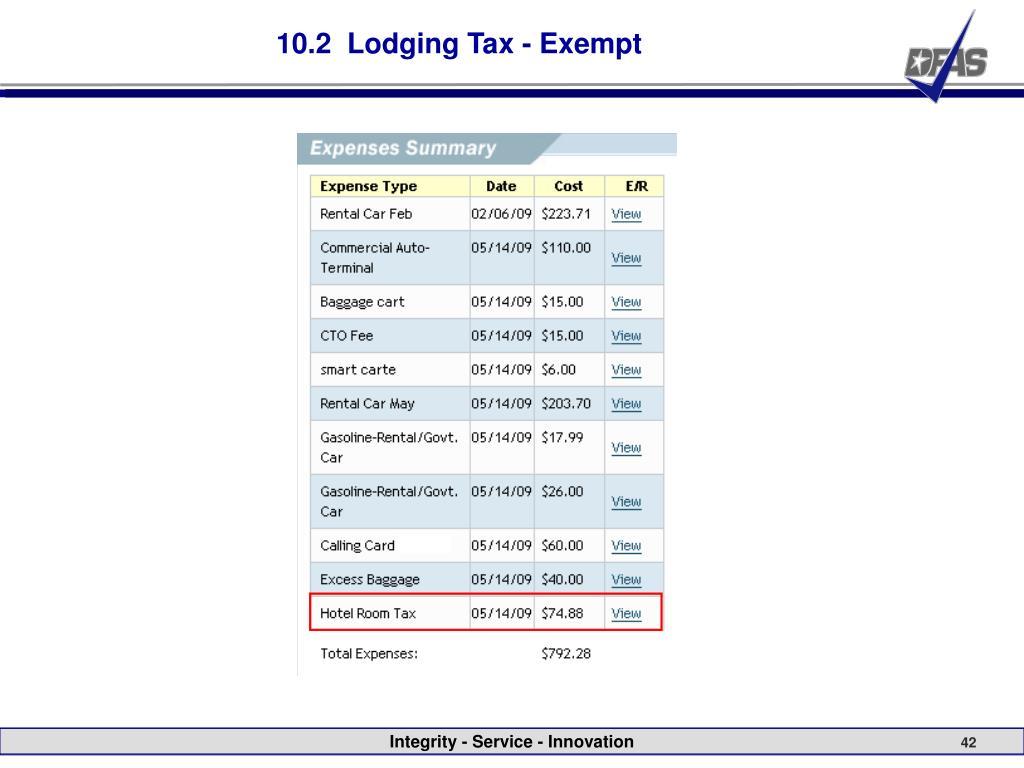 10.2  Lodging Tax - Exempt