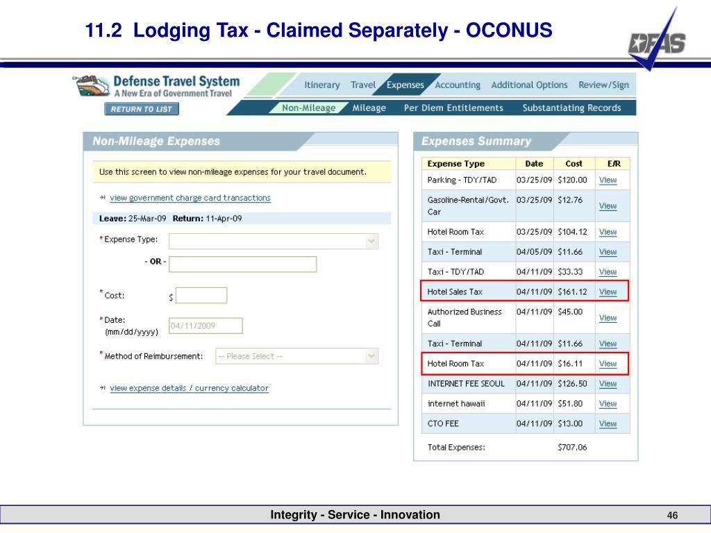 11.2  Lodging Tax - Claimed Separately - OCONUS