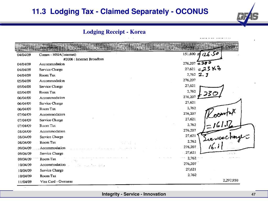 11.3  Lodging Tax - Claimed Separately - OCONUS
