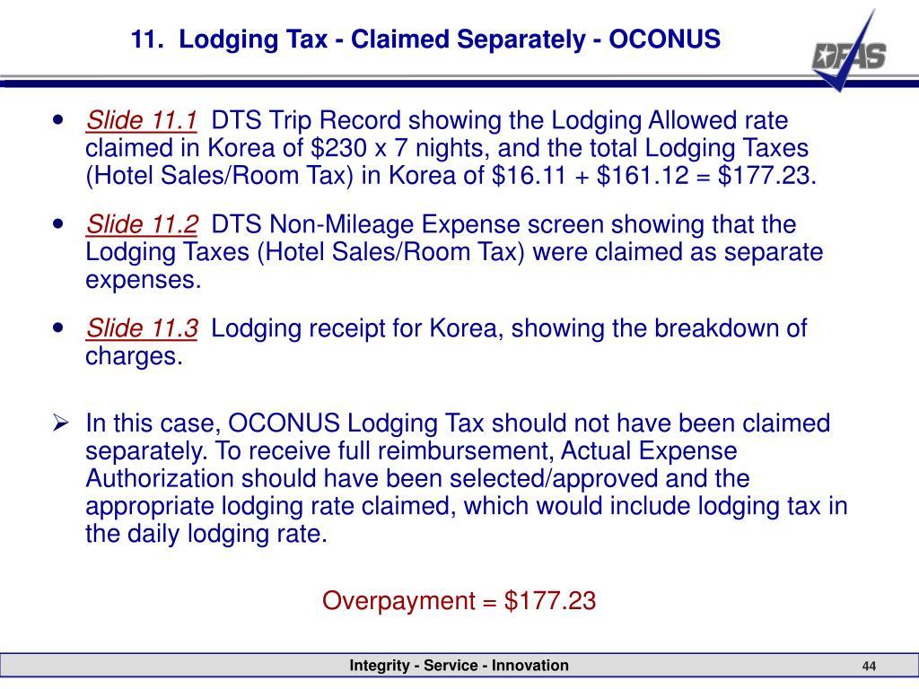 11.  Lodging Tax - Claimed Separately - OCONUS