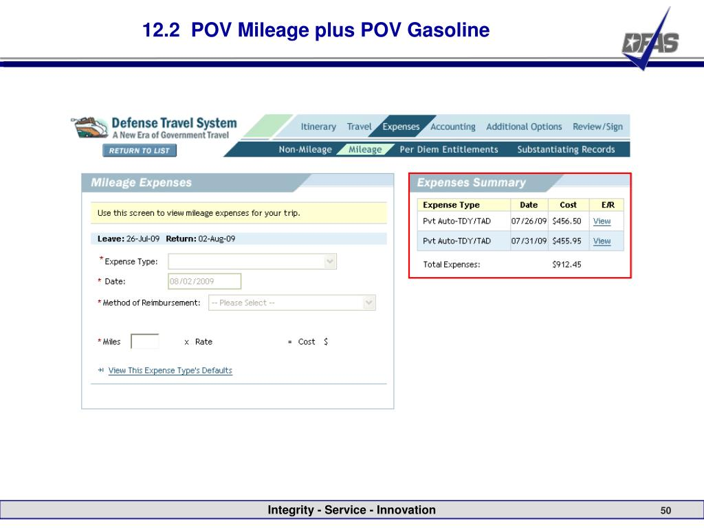 12.2  POV Mileage plus POV Gasoline