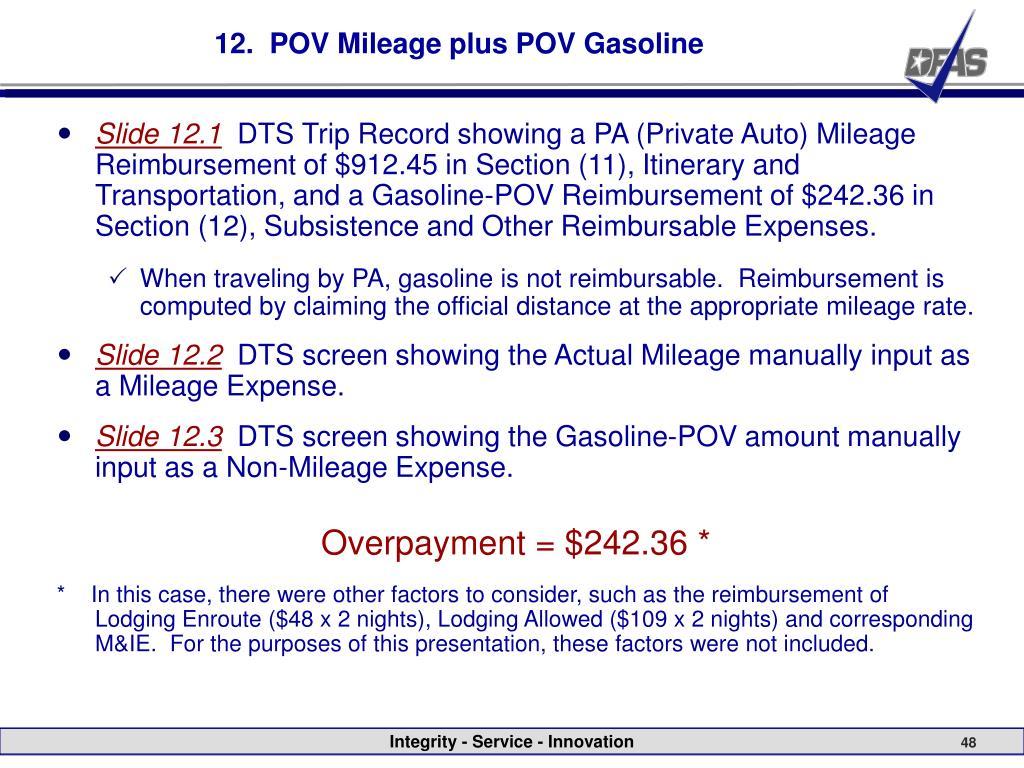 12.  POV Mileage plus POV Gasoline