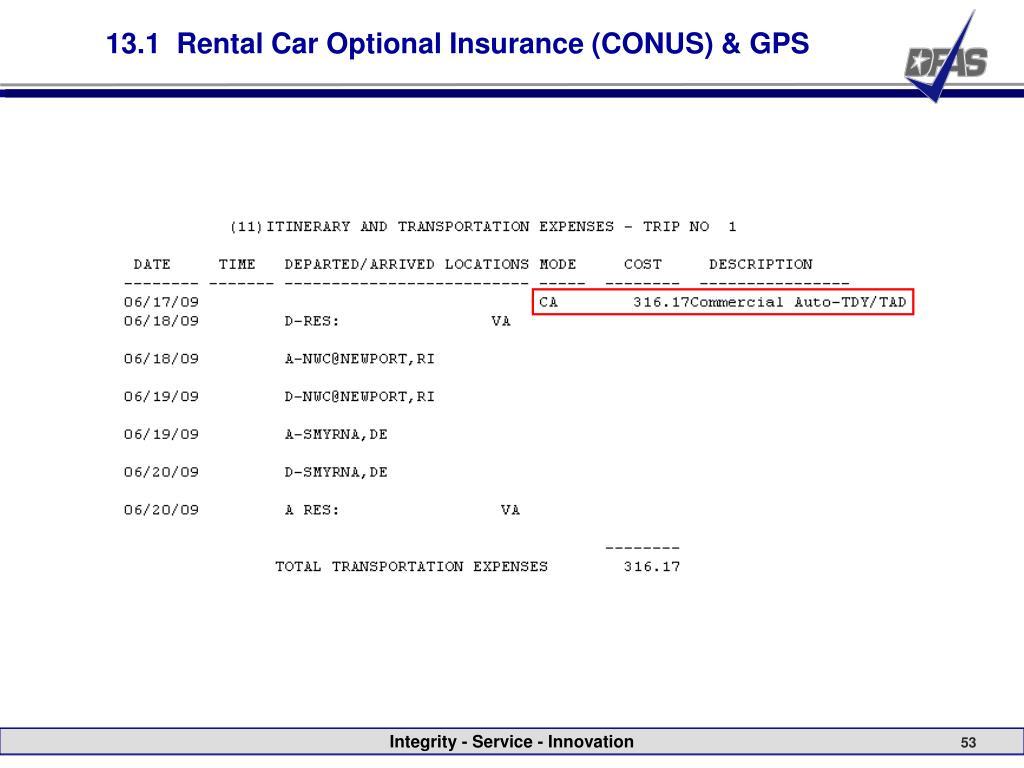 13.1  Rental Car Optional Insurance (CONUS) & GPS