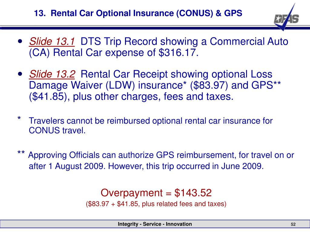 13.  Rental Car Optional Insurance (CONUS) & GPS