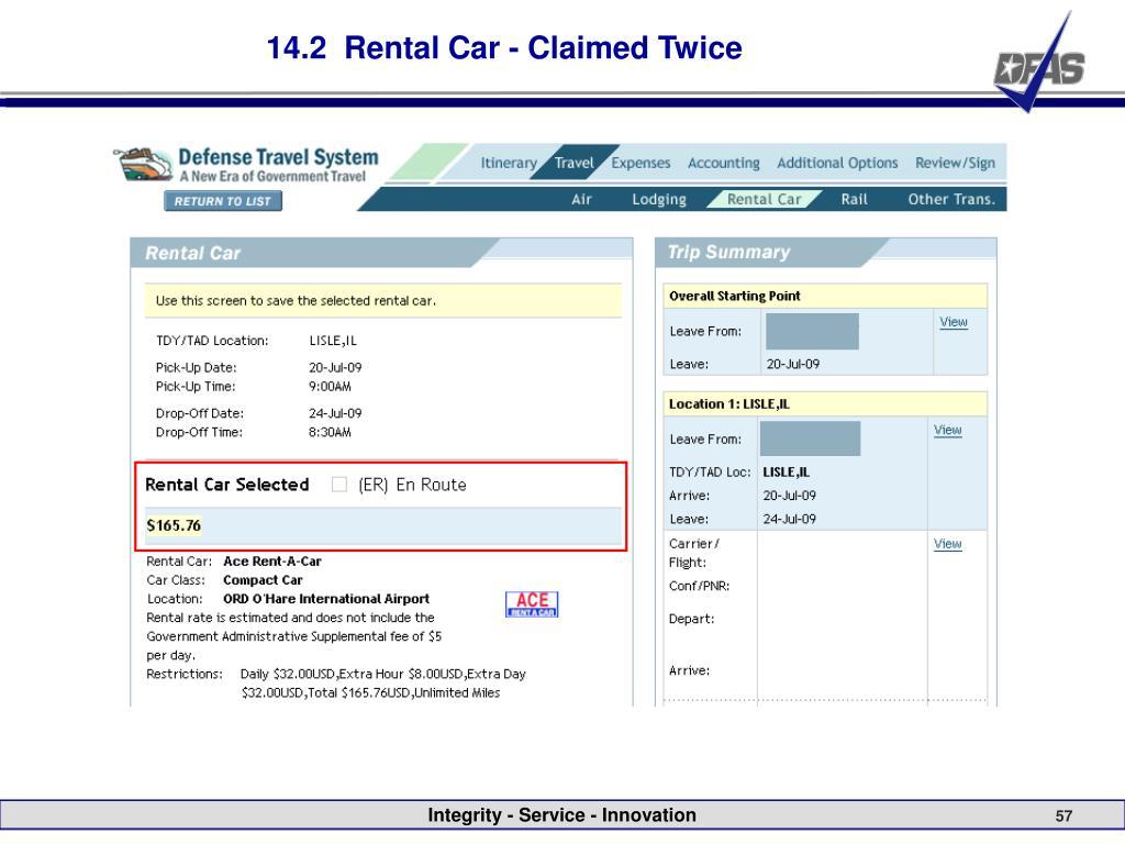 14.2  Rental Car - Claimed Twice