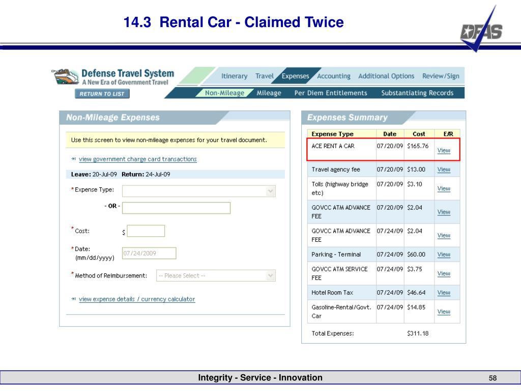 14.3  Rental Car - Claimed Twice