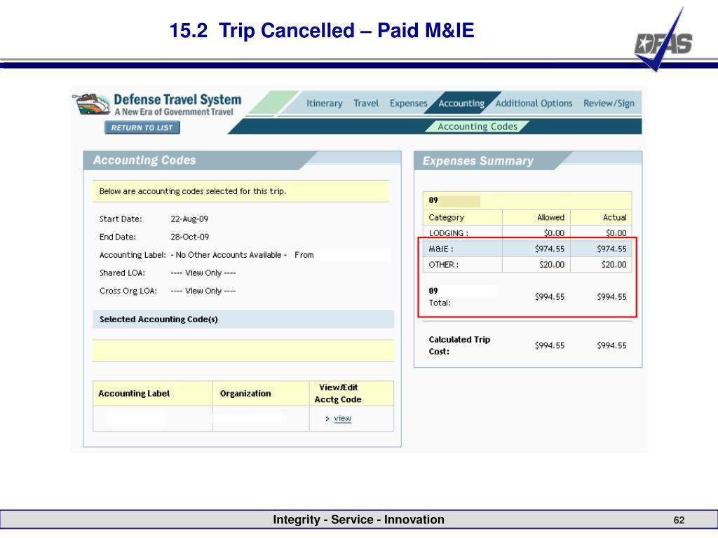 15.2  Trip Cancelled – Paid M&IE
