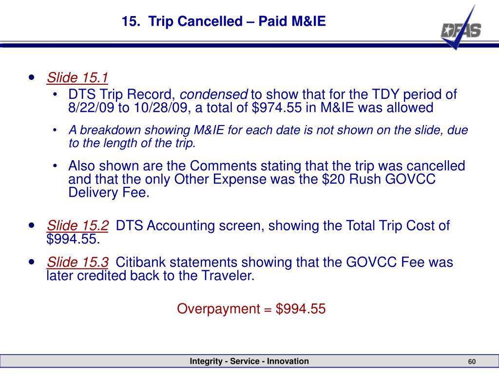 15.  Trip Cancelled – Paid M&IE