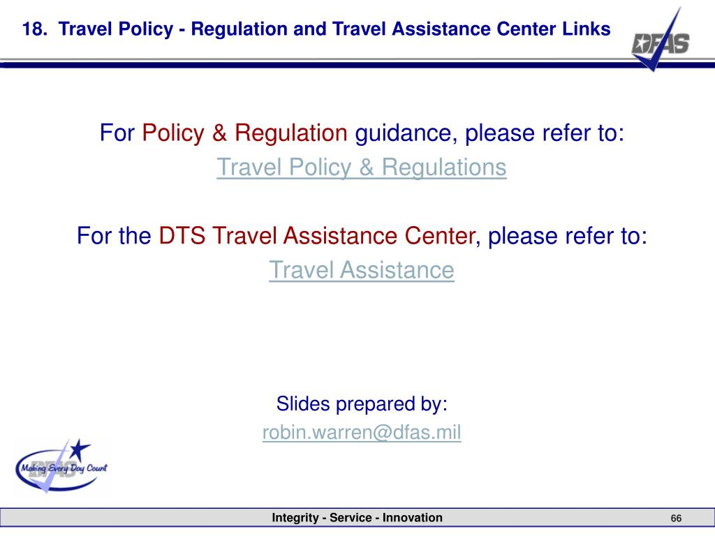 18.  Travel Policy - Regulation and Travel Assistance Center Links