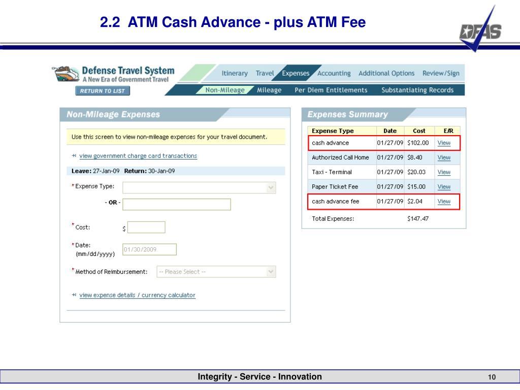2.2  ATM Cash Advance - plus ATM Fee