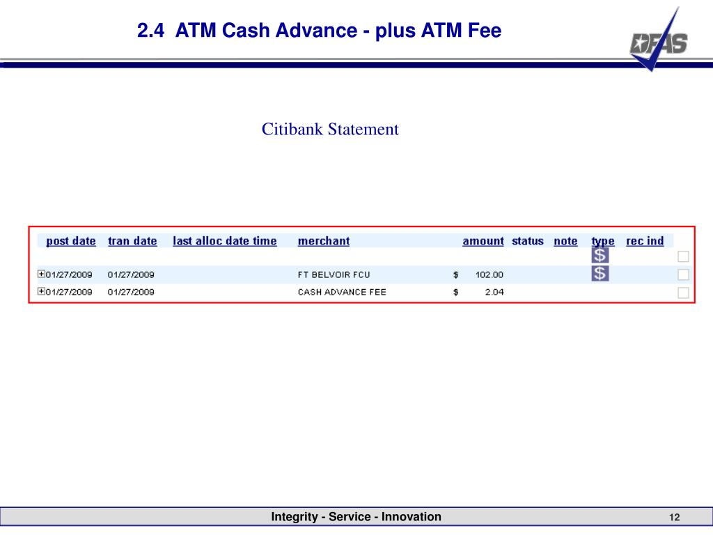 2.4  ATM Cash Advance - plus ATM Fee