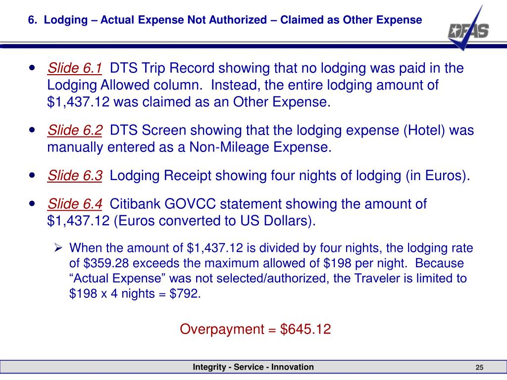6.  Lodging – Actual Expense Not Authorized – Claimed as Other Expense