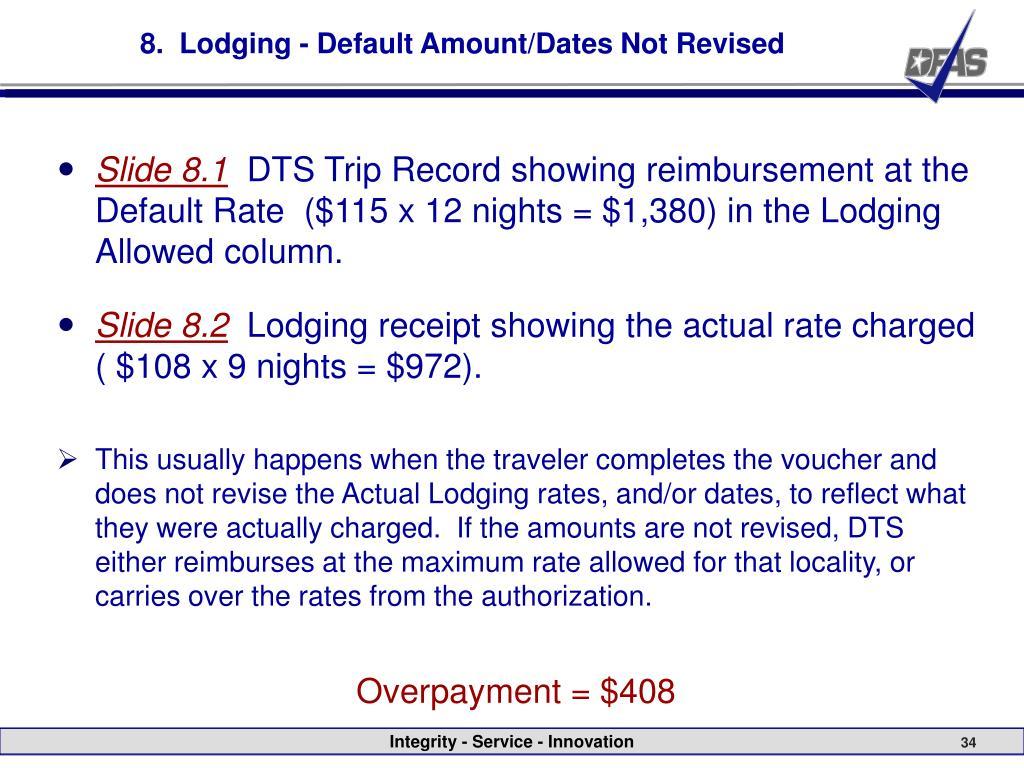 8.  Lodging - Default Amount/Dates Not Revised