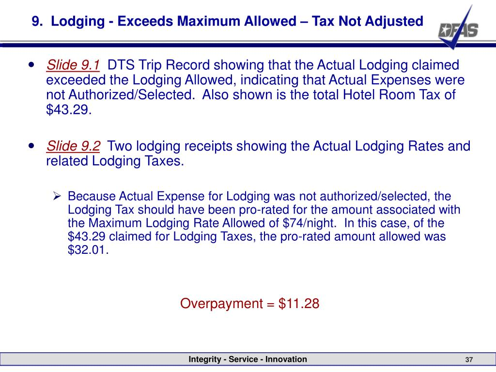 9.  Lodging - Exceeds Maximum Allowed – Tax Not Adjusted