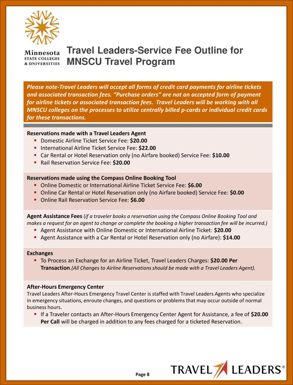 Travel Leaders-Service Fee Outline for