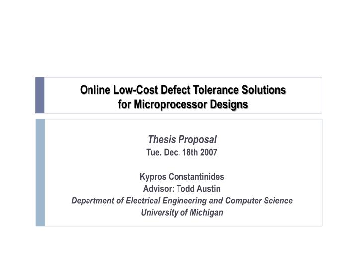 Online Thesis Proposal