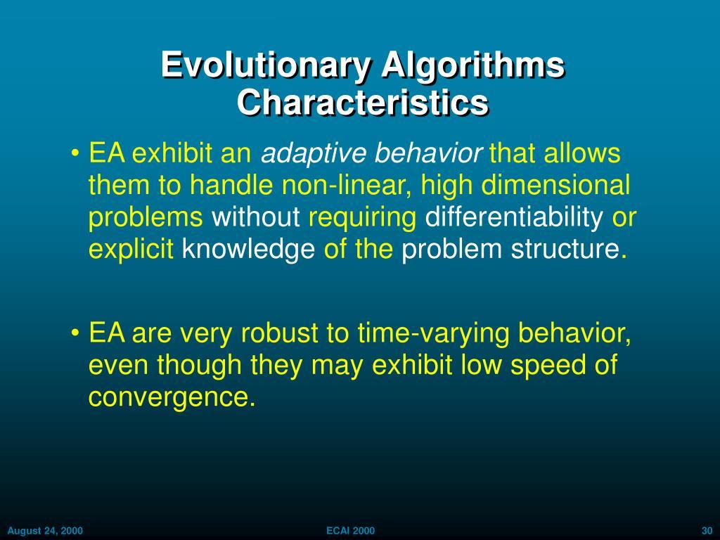 Evolutionary Algorithms Characteristics