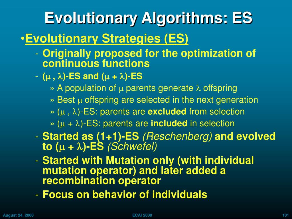 Evolutionary Algorithms: ES