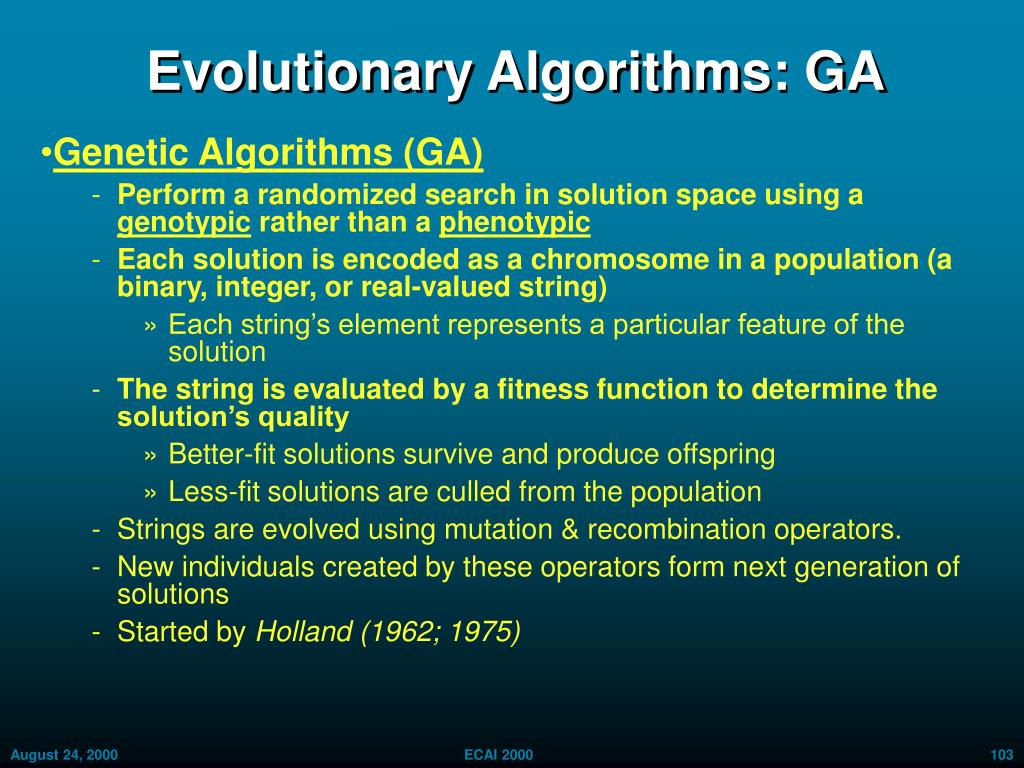Evolutionary Algorithms: GA