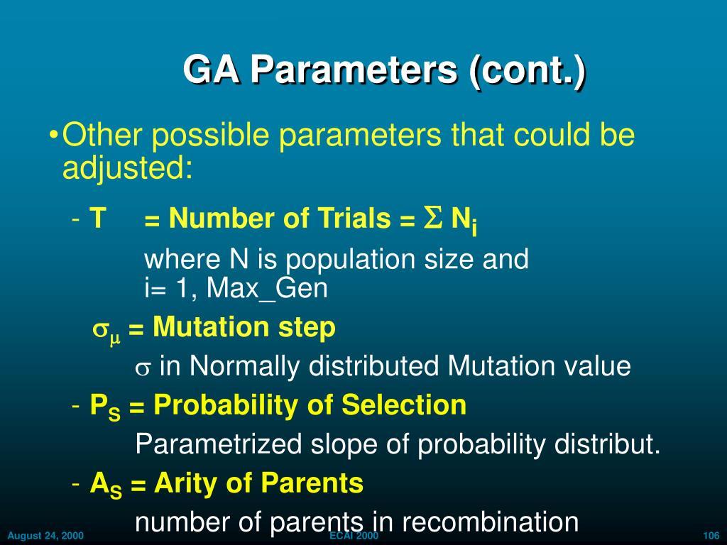 GA Parameters (cont.)