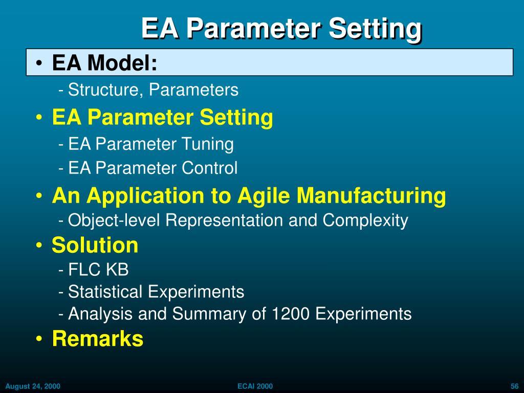 EA Parameter Setting