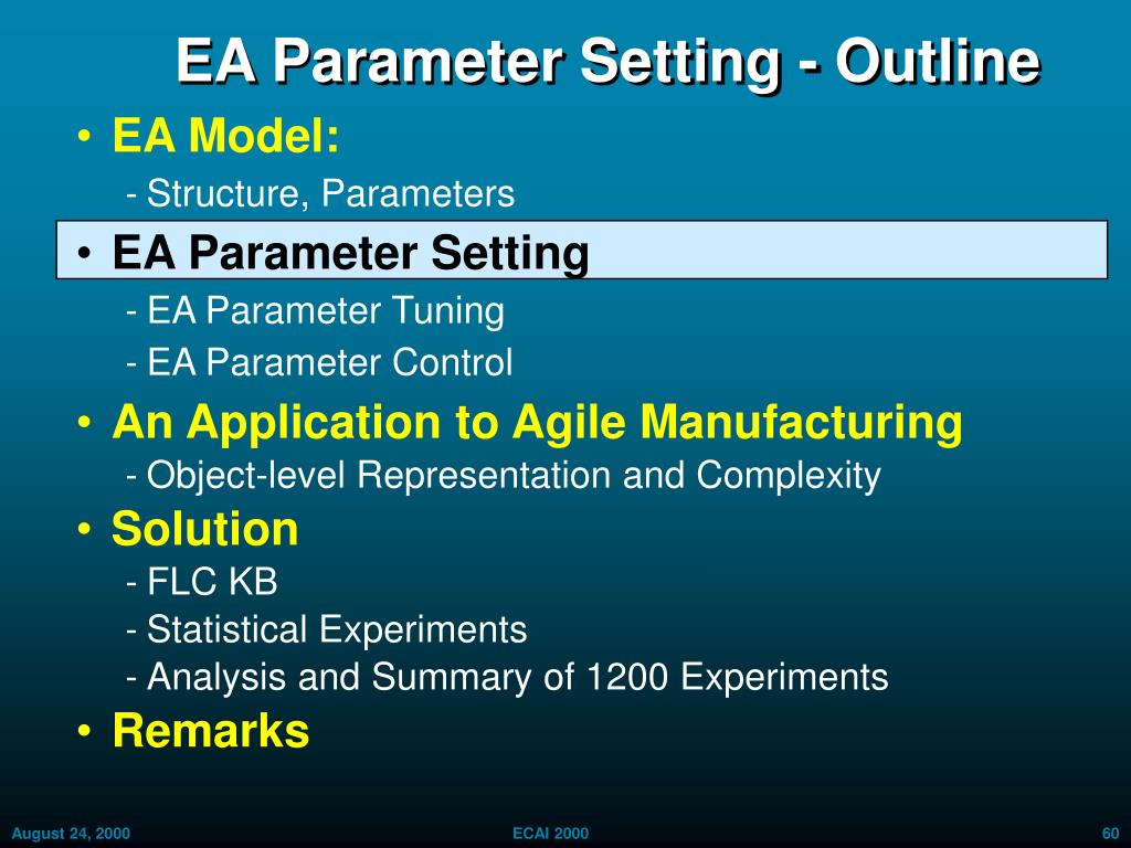 EA Parameter Setting - Outline