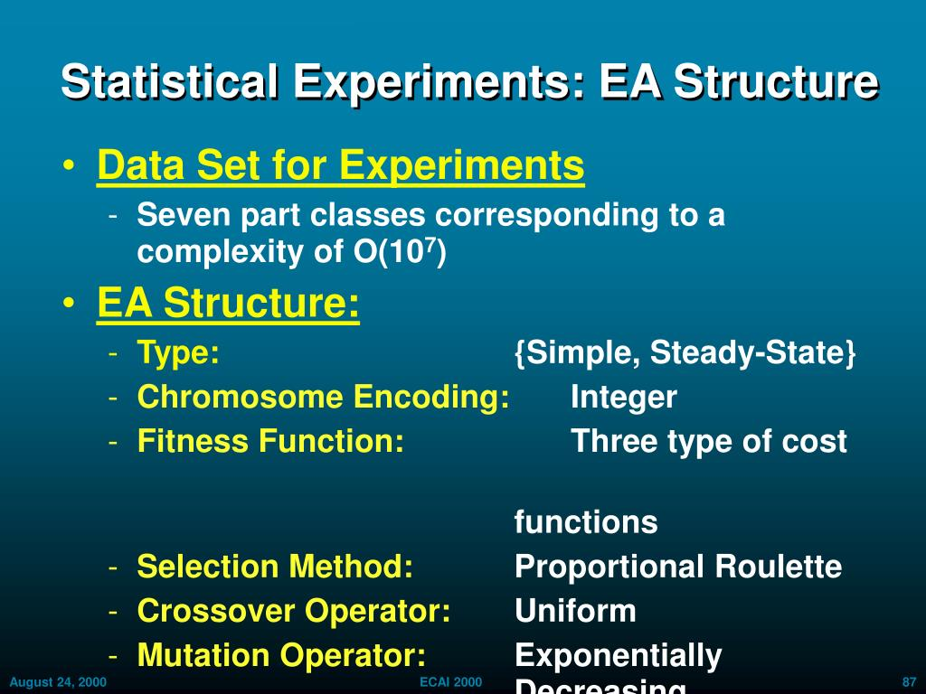 Statistical Experiments: EA Structure