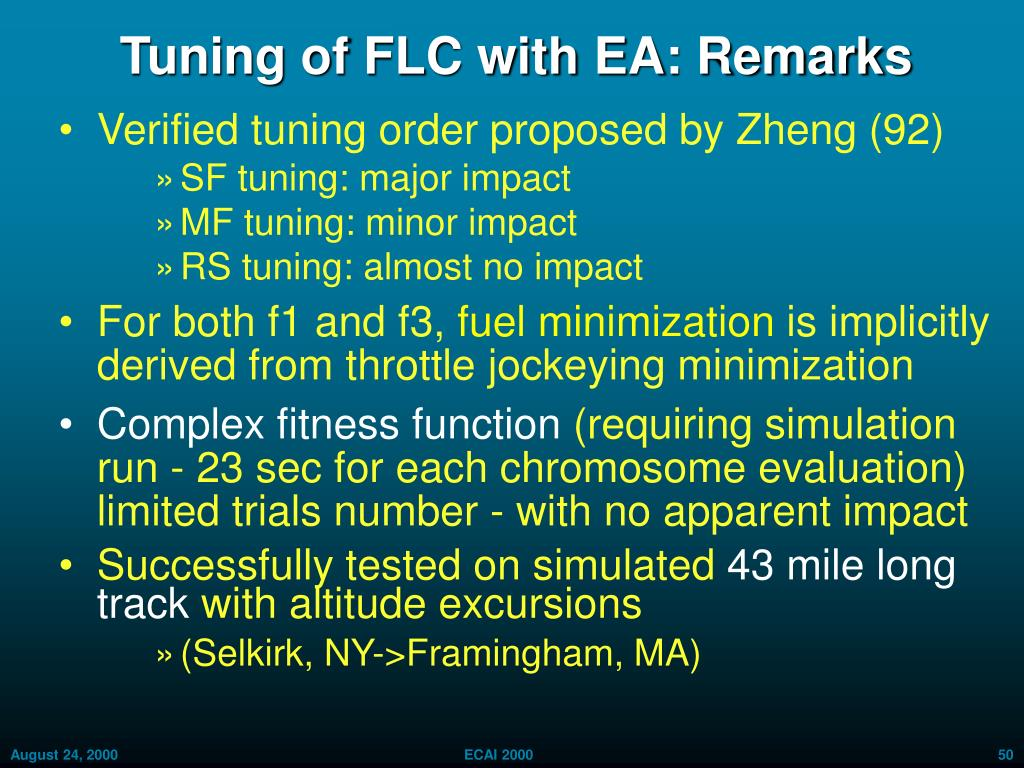 Tuning of FLC with EA: Remarks