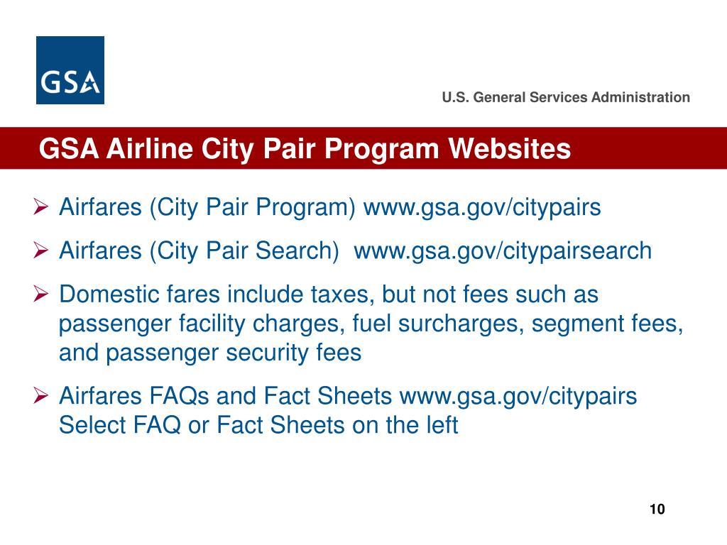 GSA Airline City Pair Program Websites