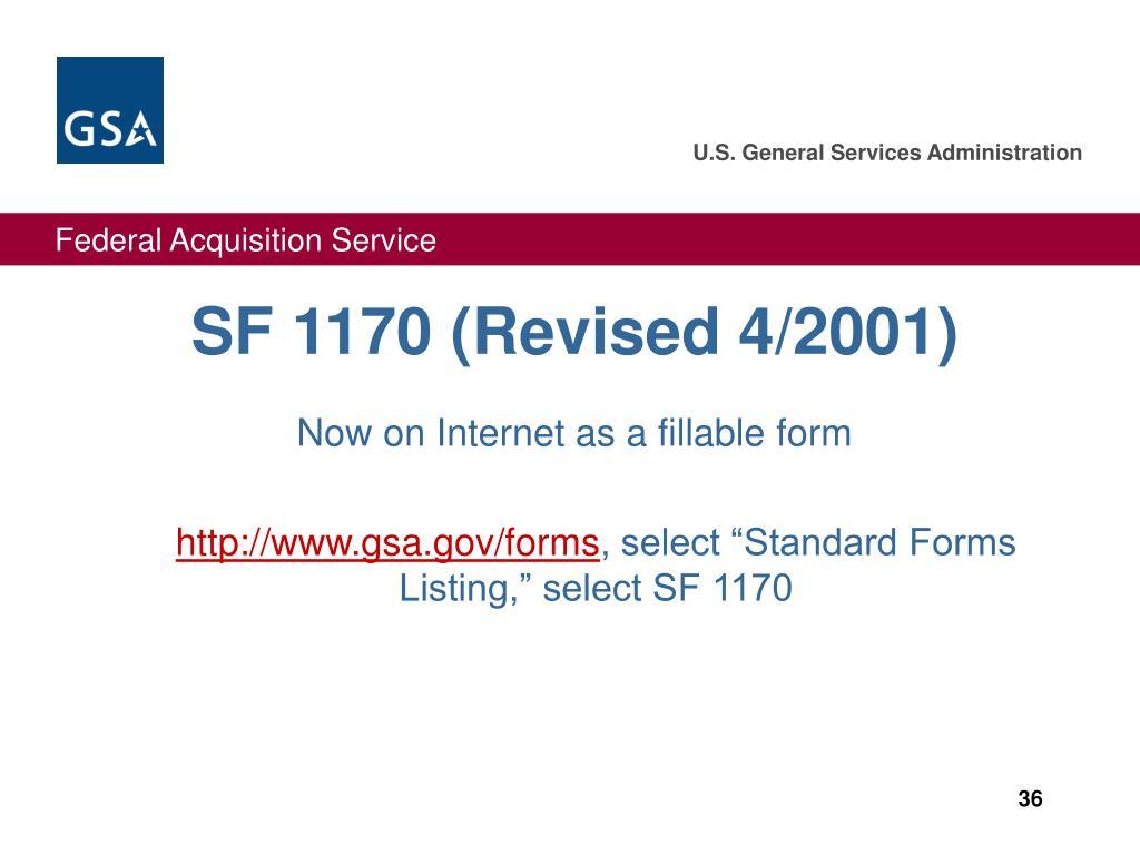 SF 1170 (Revised 4/2001)