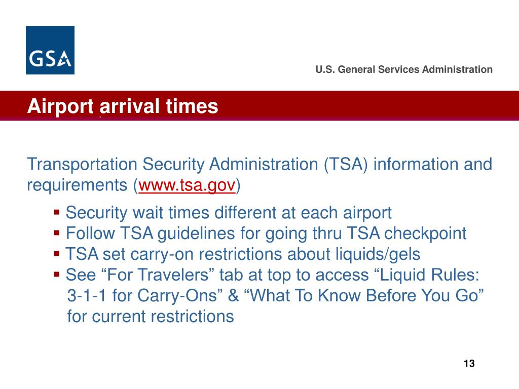Airport arrival times