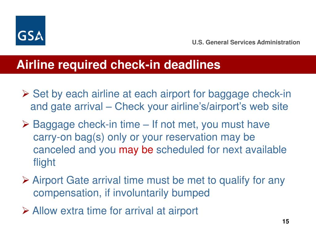 Airline required check-in deadlines