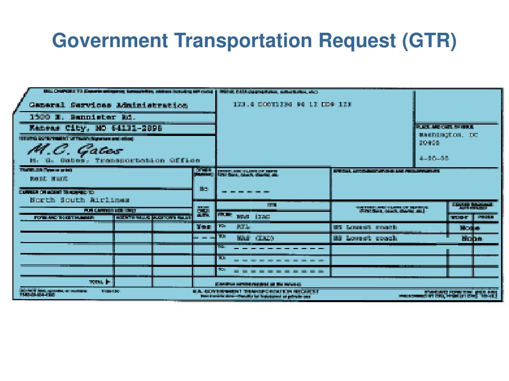 Government Transportation Request (GTR)