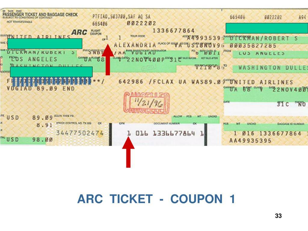 ARC  TICKET  -  COUPON  1